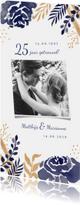 Jubileumkaarten - Jubileum uitnodiging met waterverf en goudlook bloemen