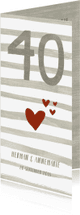 Jubileumkaarten - Jubileumkaart 40 met strepen, hartjes en houtlook