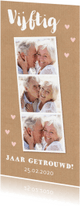 Jubileumkaarten - Jubileumkaart fotocollage kraftprint hartjes roze