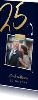 Jubileumkaarten - Jubileumkaart langwerpig met gouden 25 en foto