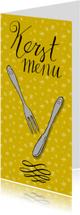 Menukaarten - Kerstdiner handlettering bestek geel