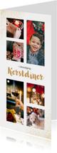 Kerstdiner uitnodiging langwerpig met 6 eigen foto's