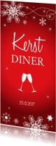 Kerstkaarten - Kerstdiner uitnodiging langwerpig rood sneeuwvlokken
