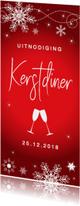 Kerstdiner uitnodiging langwerpig rood sneeuwvlokken