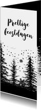 Kerstkaarten - Kerstkaart bomen zwart-wit