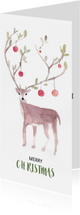 Kerstkaarten - Kerstkaart hert met kerstballen aquarel