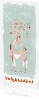 Kerstkaarten - Kerstkaart hert met kerstversiering