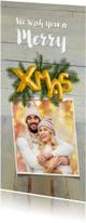 Kerstkaarten - Kerstkaart hout kerstgroen en ballon goud xmas 2019