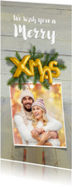 Kerstkaarten - Kerstkaart hout kerstgroen en ballon xmas 2018- SG