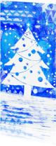 Kerstkaarten - kerstkaart illustratie kerstboom winter wonderland