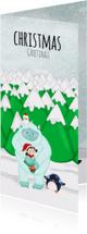 Kerstkaarten - Kerstkaart kerstmis Yeti en kerst elfje