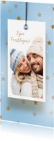 Kerstkaarten - Kerstkaart label en gouden sterren