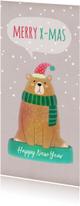 Kerstkaarten - Kerstkaart langwerpig beer met muts - BK