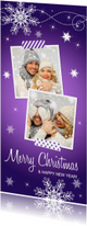 Kerstkaarten - Kerstkaart langwerpig fotocollage paars sneeuwvlokken