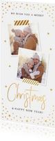 Kerstkaart langwerpig goud confetti foto