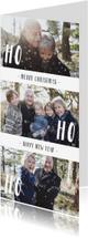 Kerstkaarten - Kerstkaart langwerpig 'HO HO HO' met sneeuwvlokjes dubbel