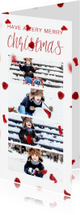 Kerstkaarten - Kerstkaart langwerpig met foto's en rode blaadjes