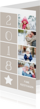 Kerstkaarten - Kerstkaart langwerpig met foto's, ster en jaartal 2018