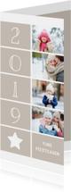 Kerstkaarten - Kerstkaart langwerpig met foto's, ster en jaartal 2019