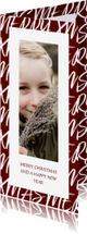 Kerstkaarten - Kerstkaart langwerpig met handgeschreven tekst en foto
