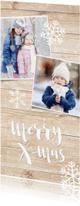 Kerstkaarten - Kerstkaart langwerpig met hout, wintersfeer en eigen foto's