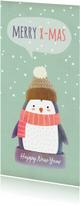Kerstkaarten - Kerstkaart langwerpig pinguïn met muts - BK