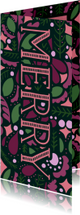 Kerstkaarten - Kerstkaart 'MERRY' dubbel met illustraties