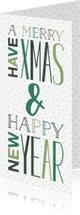 Kerstkaarten - Kerstkaart met groene letters, sterren en stipjes dubbel