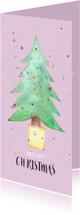 Kerstkaarten - Kerstkaart met kerstboom in aquarel