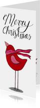 Kerstkaarten - Kerstkaart rode vogel