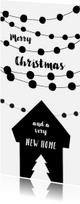 Kerstkaarten - Kerstkaart verhuizen housewarming slingers