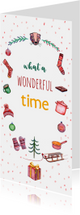 Kerstkaarten - Kerstkaart wonderful time met illustraties