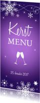 Menukaarten - Kerstmenukaart langwerpig paars sneeuwvlokken
