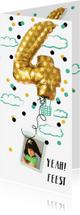 Kinderfeestjes - kinderfeestje fotokaart folie ballon 4 jaar