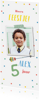 Kinderfeestjes - Kinderfeestje kleurrijk met confetti, pijltje en foto