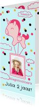 Kinderfeestjes - Kinderfeestje meisje met unicorn luchtballon en eigen foto