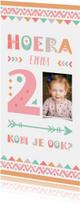 Kinderfeestjes -  Kinderfeestje uitnodiging 2 jaar tribal stijl meisje