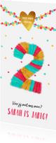 Kinderfeestjes - Kinderfeestje uitnodiging twee jaar meisje feestelijk