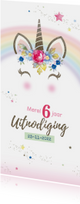 Kinderfeestje uitnodiging unicorn met bloemen en sterren