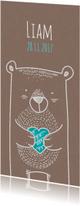 Geboortekaartjes - Kraftpapier beer met hartje