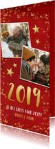 Nieuwjaarskaarten - Langwerpige dubbele rode nieuwjaarskaart met gouden sterren