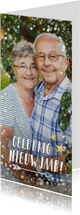 Nieuwjaarskaarten - Langwerpige nieuwjaars fotokaart met wit en gouden confetti