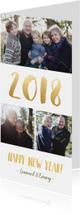 Nieuwjaarskaarten - Langwerpige nieuwjaarskaart met fotocollage en jaartal 2018