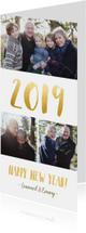 Nieuwjaarskaarten - Langwerpige nieuwjaarskaart met fotocollage en jaartal 2019