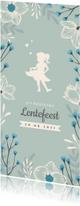 Communiekaarten - Lentefeest uitnodiging met stijlvolle bloemen en silhouet