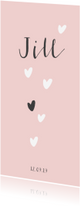 Geboortekaartjes - Lief geboortekaartje voor een meisje met hartjes regen