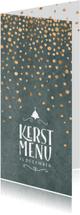 Menukaarten - Menukaart kerst groen met confetti