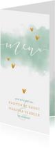 Menukaarten - Menukaart 'MENU' met waterverf en gouden hartjes
