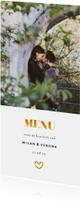 Menukaarten - Menukaart met foto en gouden accenten langwerpig