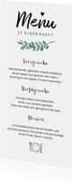 Menukaarten - Menukaart stijlvol met blaadje voor iedere gelegenheid